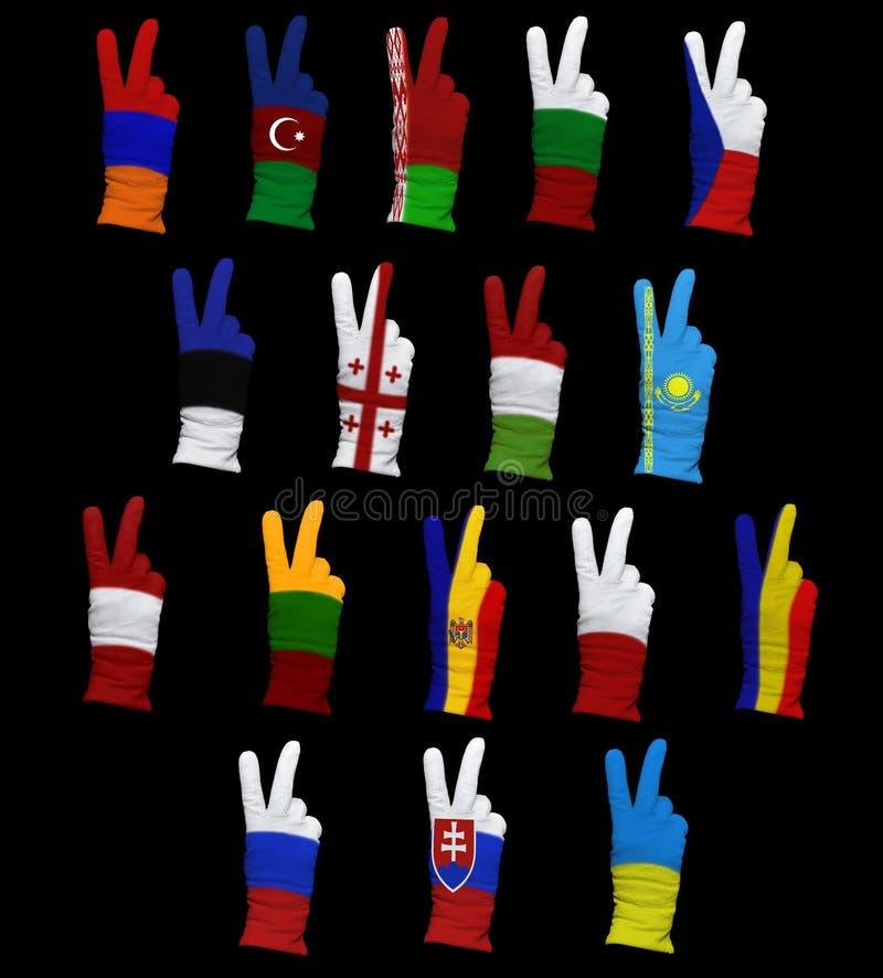 Bandeiras de Europa Oriental foto de stock