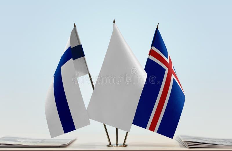 Bandeiras de Finlandia e de Islândia fotografia de stock