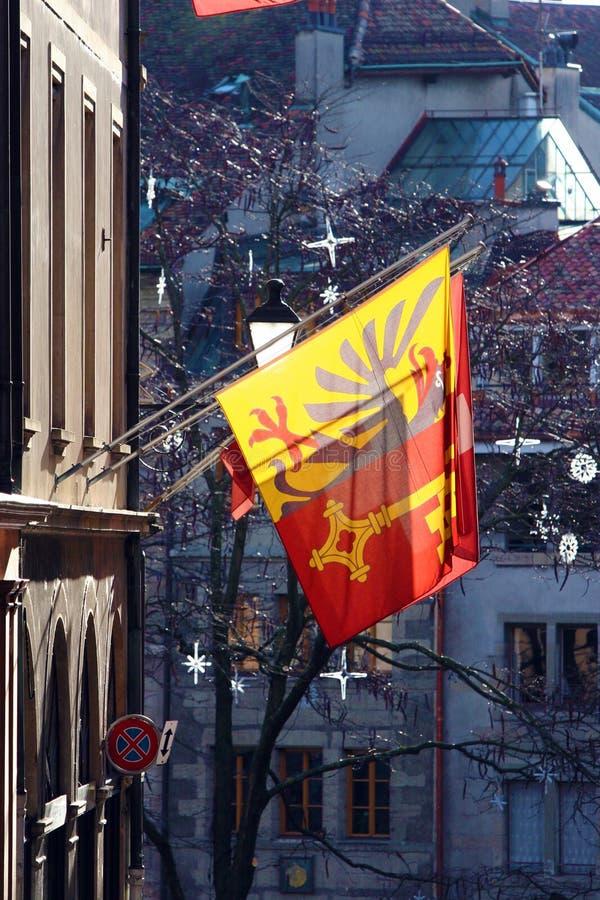 Bandeiras de Genebra fotografia de stock royalty free