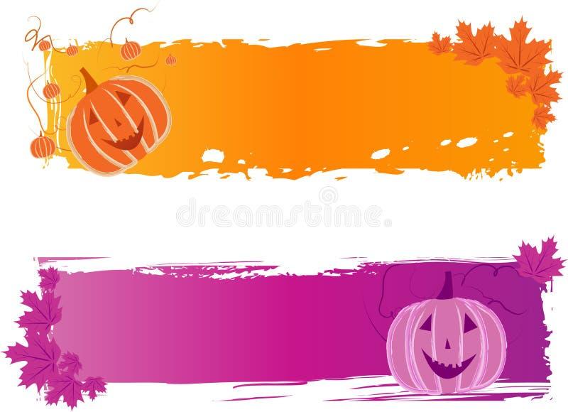 Bandeiras de Halloween com abóbora ilustração royalty free