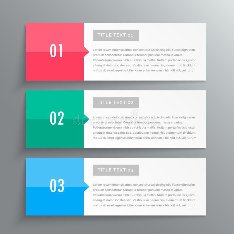 Bandeiras de Infographic que mostram três etapas para seus dados ilustração do vetor