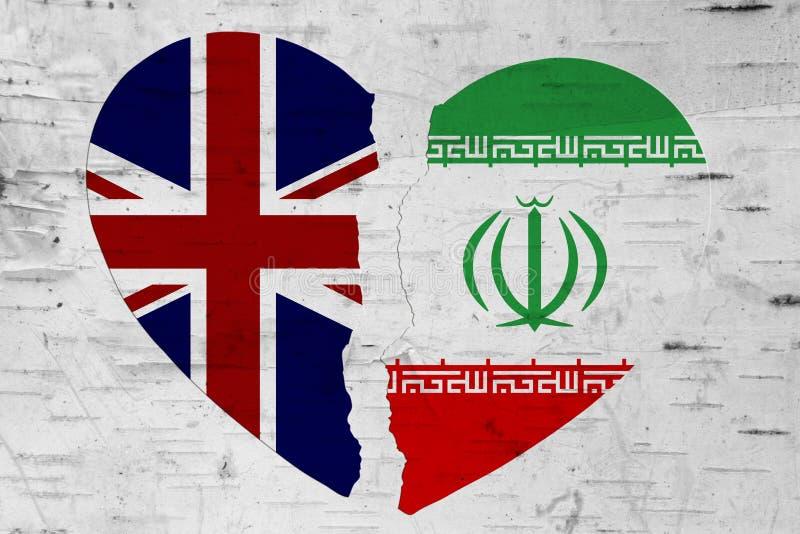Bandeiras de Ingleses e de Irã em um coração quebrado ilustração do vetor