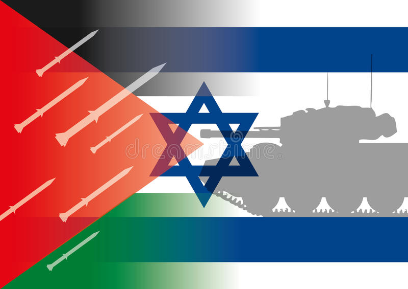 Bandeiras de Israel Palestina ilustração royalty free