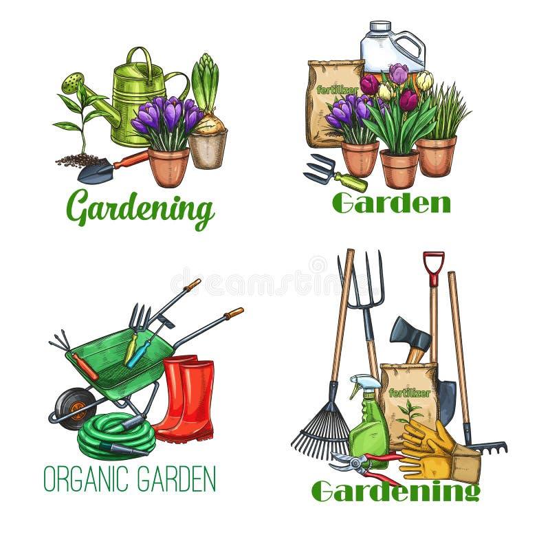 Bandeiras de jardinagem, esboço ilustração stock
