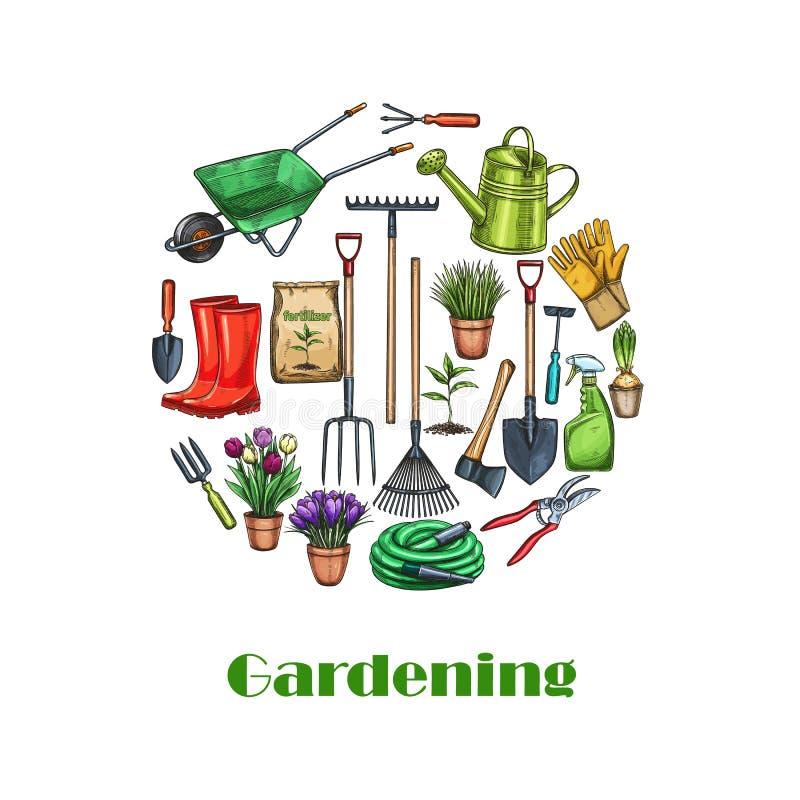 Bandeiras de jardinagem, esboço ilustração do vetor
