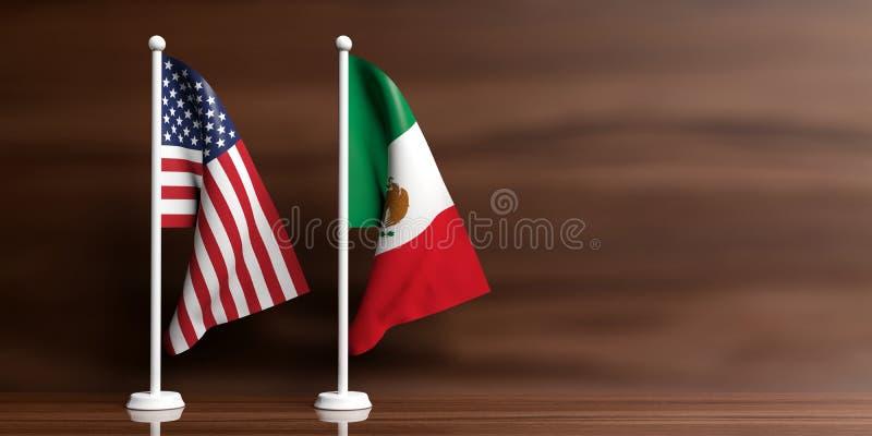 Bandeiras de México e de EUA no fundo de madeira ilustração 3D ilustração stock