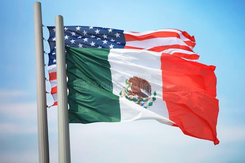 Bandeiras de México e dos EUA fotografia de stock