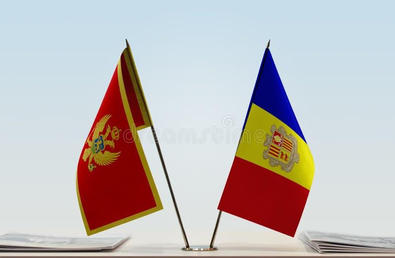 Bandeiras de Montenegro e de Andorra fotografia de stock royalty free