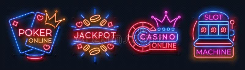 Bandeiras de néon do casino Sinais de jogo da roleta afortunada dos cartões de jogo do slot machine, aposta em linha do jogo de ilustração stock