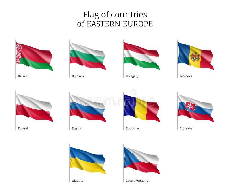 Bandeiras de ondulação de Europa Oriental ilustração royalty free