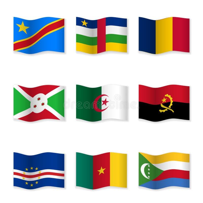 Bandeiras de ondulação de países diferentes ilustração royalty free