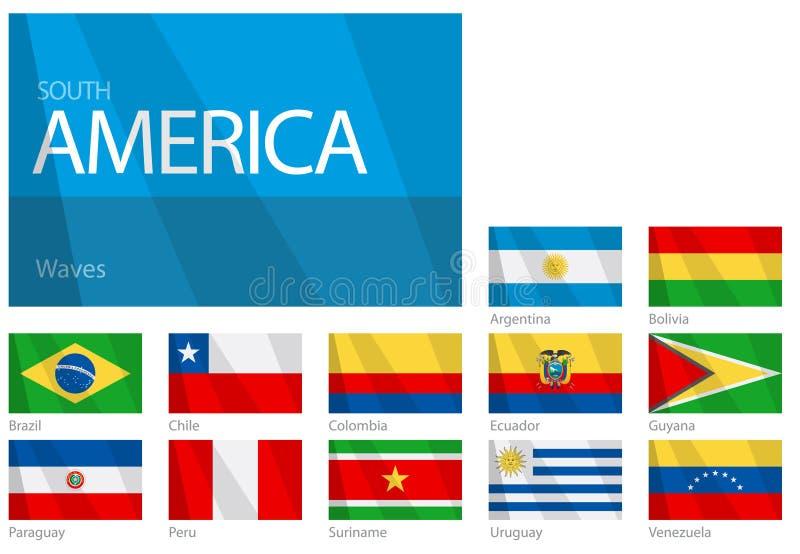 Bandeiras de ondulação do sul - países americanos ilustração do vetor
