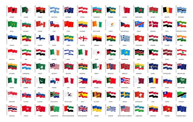 Bandeiras de ondulação nacionais do mundo inteiro com nomes - bandeira de alta qualidade do vetor isolada no fundo branco ilustração stock