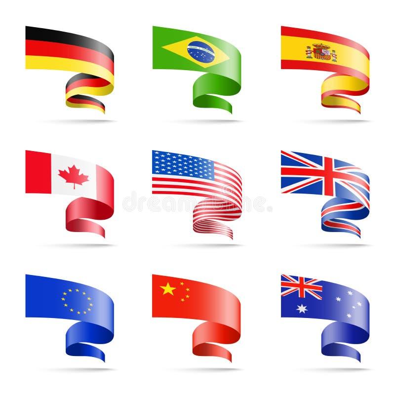 Bandeiras de ondulação de países populares sob a forma das fitas em um fundo branco ilustração do vetor