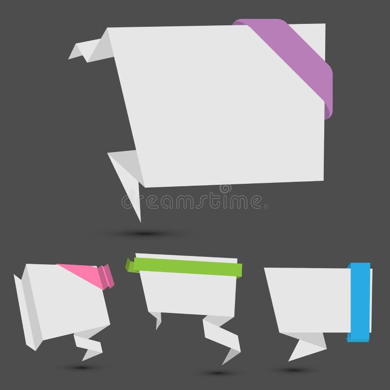 Bandeiras de Origami com fita ilustração royalty free