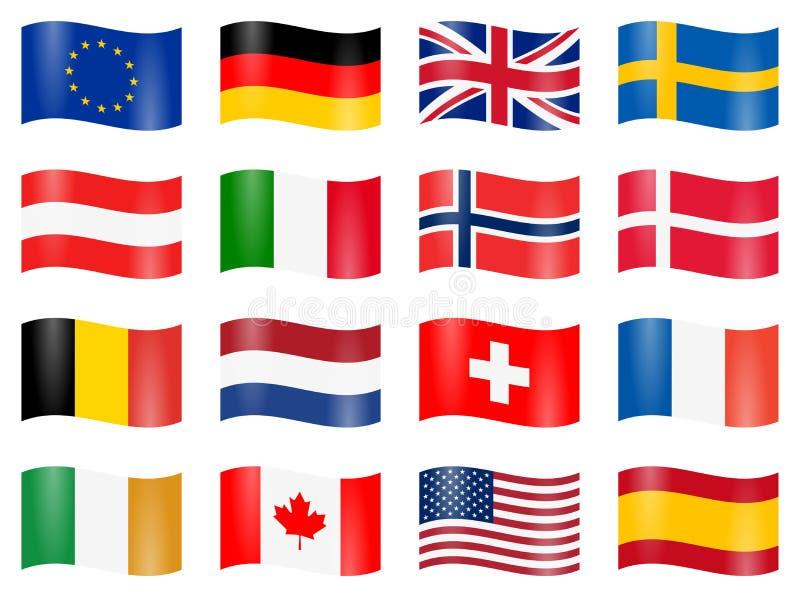bandeiras de país balançadas ilustração do vetor