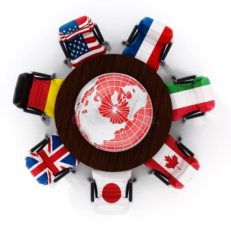 Bandeiras de país G7 em cadeiras do escritório imagem de stock
