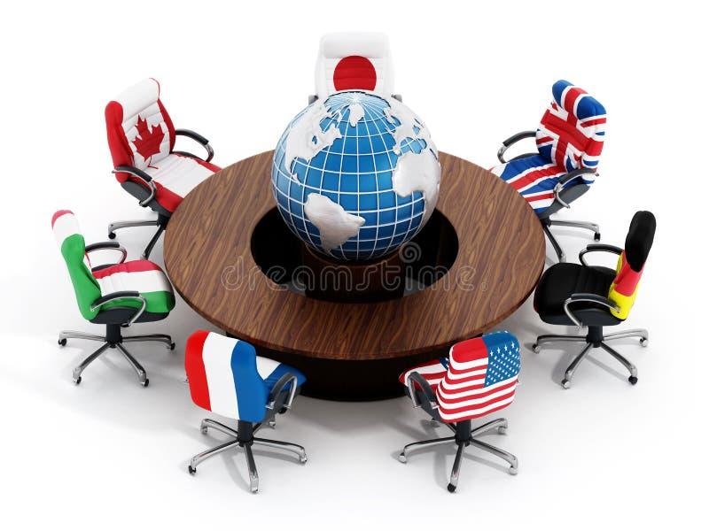 Bandeiras de país G7 em cadeiras do escritório ilustração do vetor
