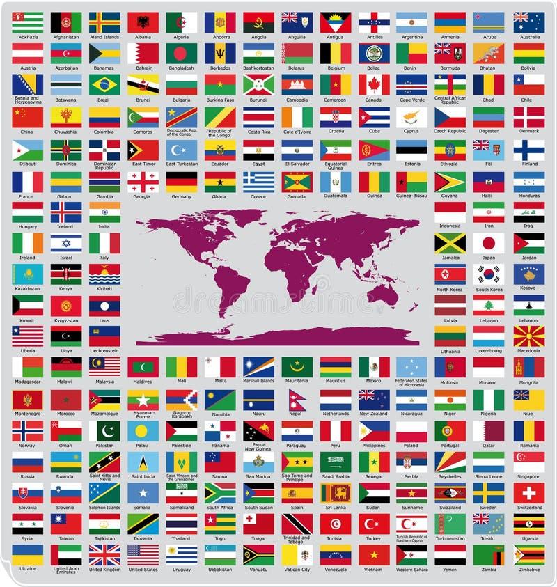 Bandeiras de país oficiais ilustração royalty free