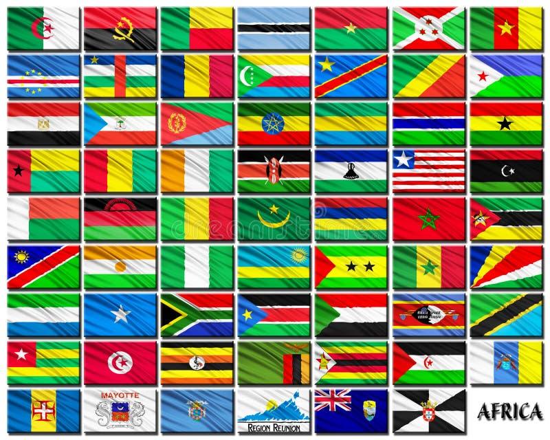 Bandeiras de países africanos em ordem alfabética ilustração stock