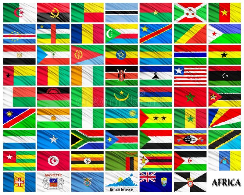Bandeiras de países africanos em ordem alfabética ilustração royalty free