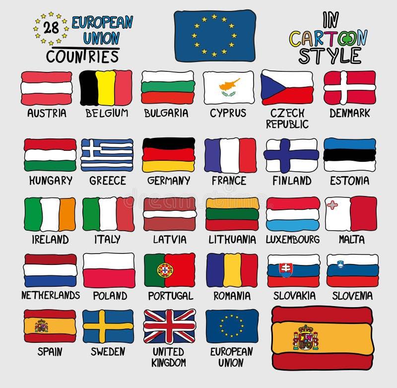 Bandeiras de países da União Europeia no estilo dos desenhos animados ilustração stock