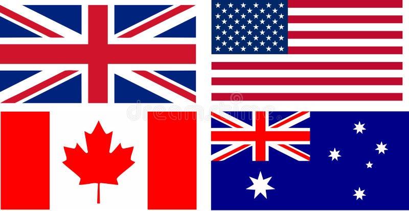 Bandeiras de países de língua inglesa ilustração do vetor
