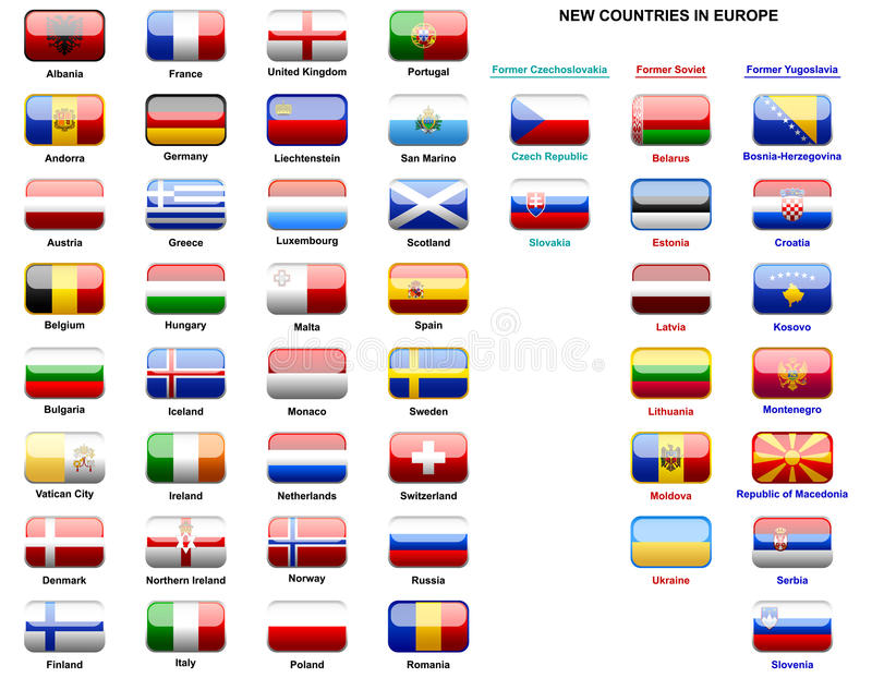 Bandeiras de países europeus ilustração royalty free