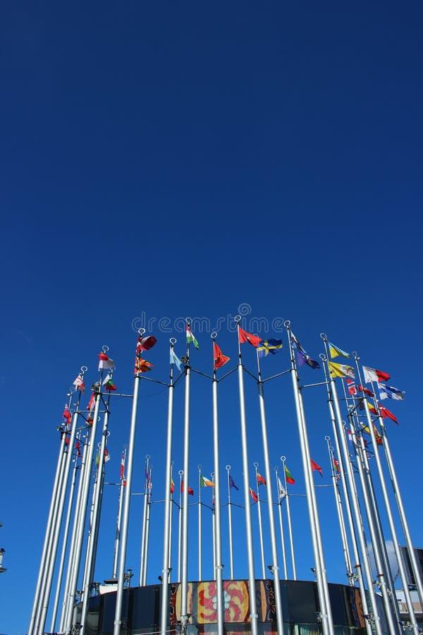 Bandeiras de países europeus fotografia de stock