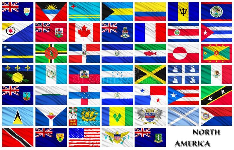 Bandeiras de países norte-americanos em ordem alfabética ilustração do vetor