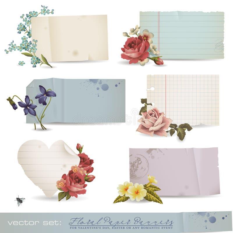 Bandeiras de papel florais ilustração stock