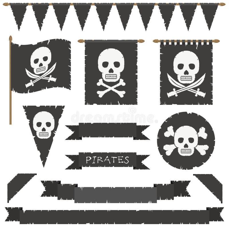 Bandeiras de pirata ilustração do vetor