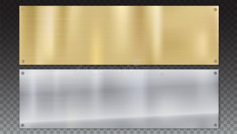 Bandeiras de placas de metal lustradas com parafusos Fundo lustrado do metal com textura do metal em um fundo transparente ilustração royalty free