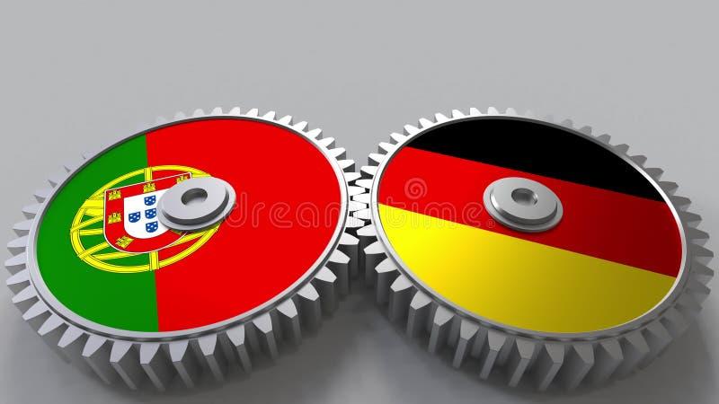 Bandeiras de Portugal e de Alemanha nas engrenagens de engrenagem Rendição 3D conceptual da cooperação internacional ilustração stock