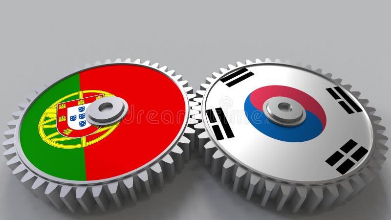 Bandeiras de Portugal e de Coreia nas engrenagens de engrenagem Rendição 3D conceptual da cooperação internacional ilustração royalty free