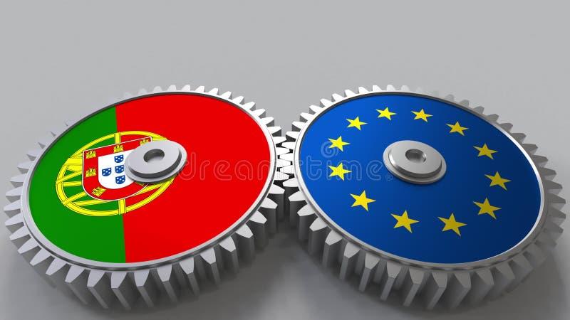 Bandeiras de Portugal e da União Europeia nas engrenagens de engrenagem Rendição 3D conceptual da cooperação internacional ilustração royalty free