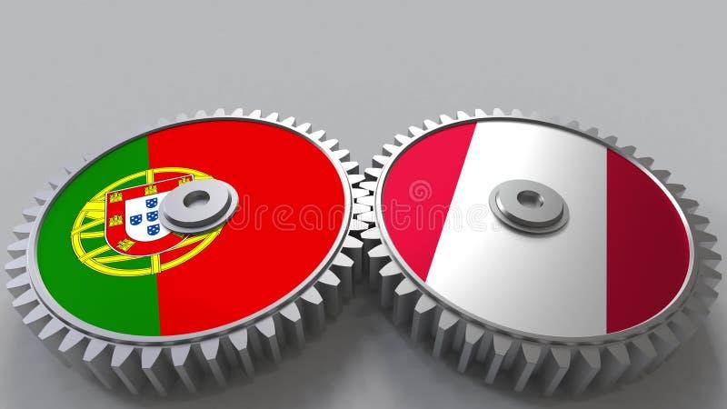 Bandeiras de Portugal e do Peru nas engrenagens de engrenagem Rendição 3D conceptual da cooperação internacional ilustração do vetor