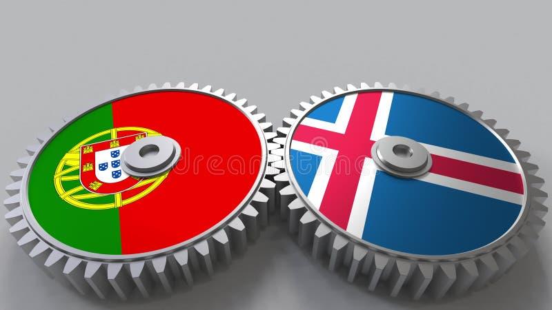 Bandeiras de Portugal e de Islândia nas engrenagens de engrenagem Rendição 3D conceptual da cooperação internacional ilustração do vetor