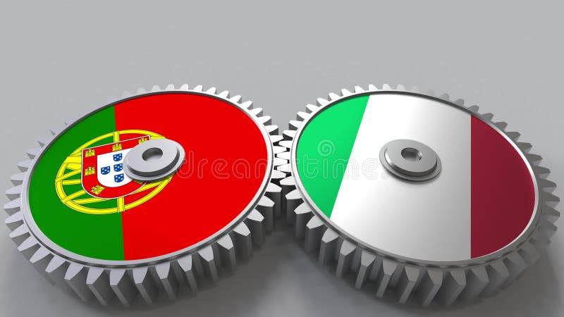 Bandeiras de Portugal e de Itália nas engrenagens de engrenagem Rendição 3D conceptual da cooperação internacional ilustração royalty free