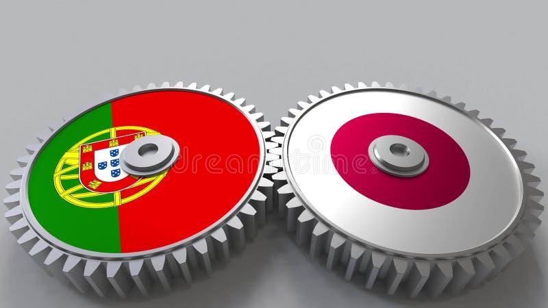Bandeiras de Portugal e de Japão nas engrenagens de engrenagem Rendição 3D conceptual da cooperação internacional ilustração stock