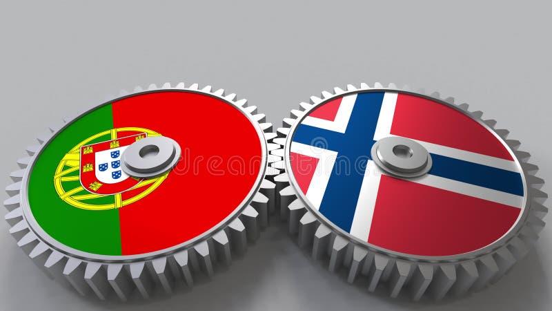 Bandeiras de Portugal e de Noruega nas engrenagens de engrenagem Rendição 3D conceptual da cooperação internacional ilustração do vetor