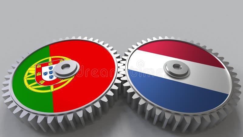 Bandeiras de Portugal e de Países Baixos nas engrenagens de engrenagem Rendição 3D conceptual da cooperação internacional ilustração royalty free
