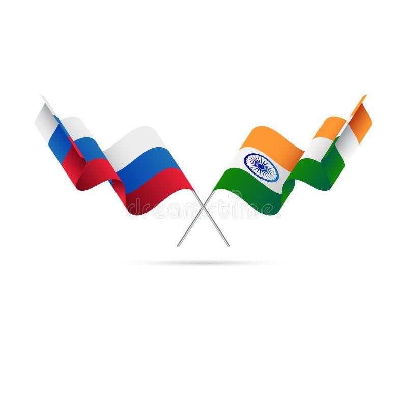 Bandeiras de Rússia e de Índia Ilustração do vetor ilustração stock