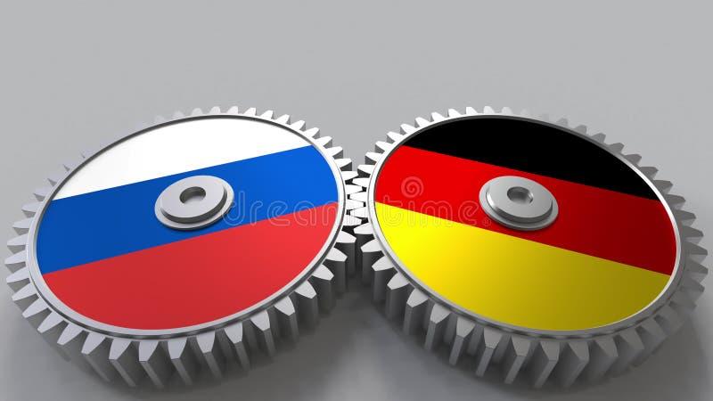 Bandeiras de Rússia e de Alemanha nas engrenagens de engrenagem Rendição 3D conceptual da cooperação internacional ilustração do vetor