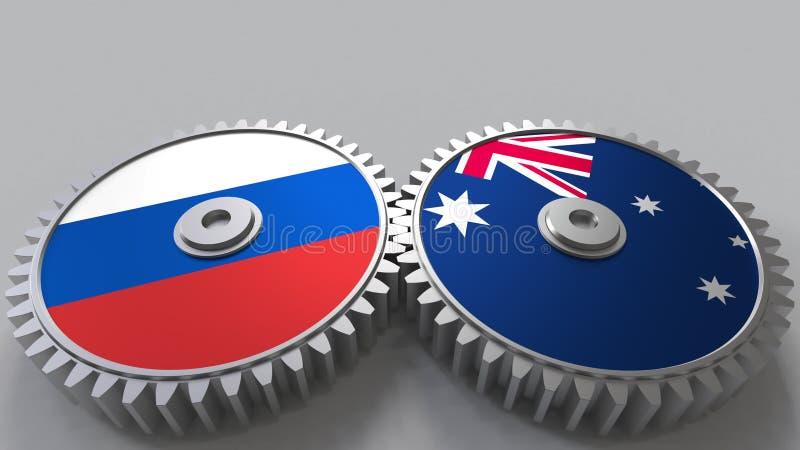 Bandeiras de Rússia e de Austrália nas engrenagens de engrenagem Rendição 3D conceptual da cooperação internacional ilustração do vetor