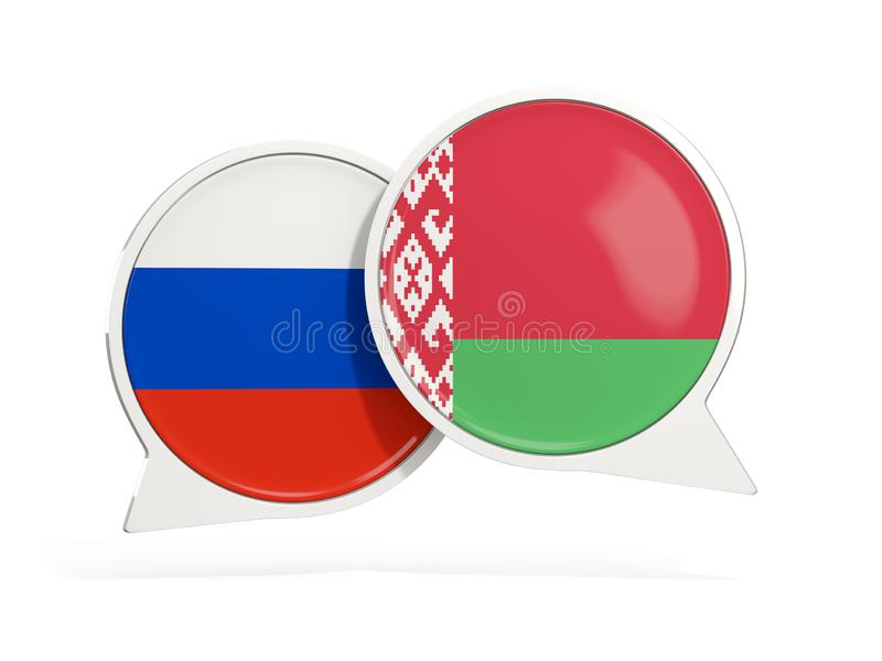 Bandeiras de R?ssia e de belarus dentro das bolhas do bate-papo ilustração royalty free