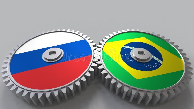 Bandeiras de Rússia e de Brasil nas engrenagens de engrenagem Rendição 3D conceptual da cooperação internacional ilustração stock