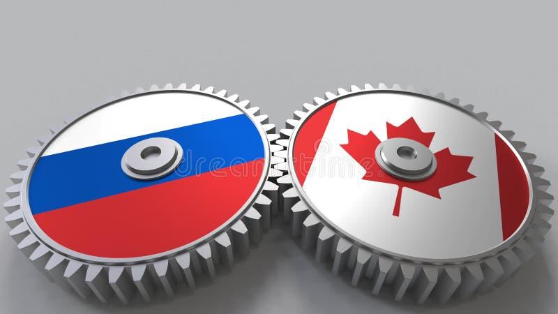 Bandeiras de Rússia e de Canadá nas engrenagens de engrenagem Rendição 3D conceptual da cooperação internacional ilustração stock