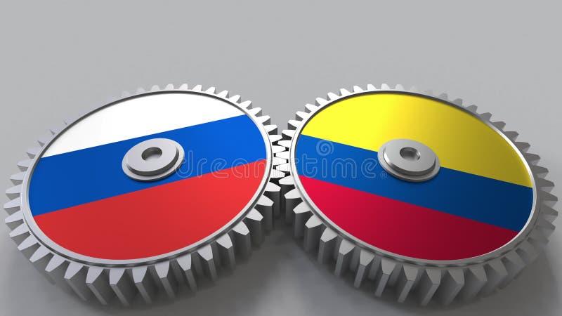 Bandeiras de Rússia e de Colômbia nas engrenagens de engrenagem Rendição 3D conceptual da cooperação internacional ilustração stock