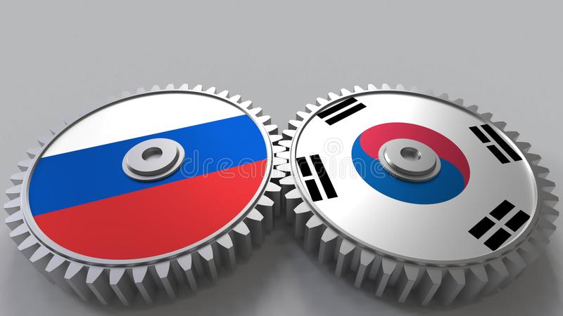 Bandeiras de Rússia e de Coreia nas engrenagens de engrenagem Rendição 3D conceptual da cooperação internacional ilustração royalty free